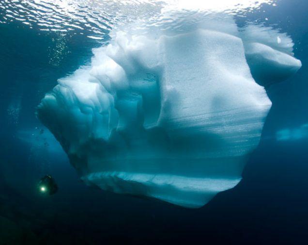 Pływające bryły lodowe