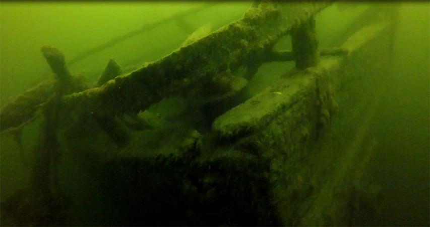 Największy wrak na Mazurach odnaleziony na głębokości 5 metrów
