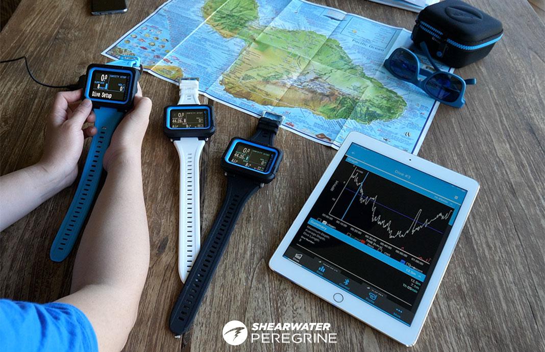 komputery nurkowe Shearwater Peregrine różne kolory divers24.pl