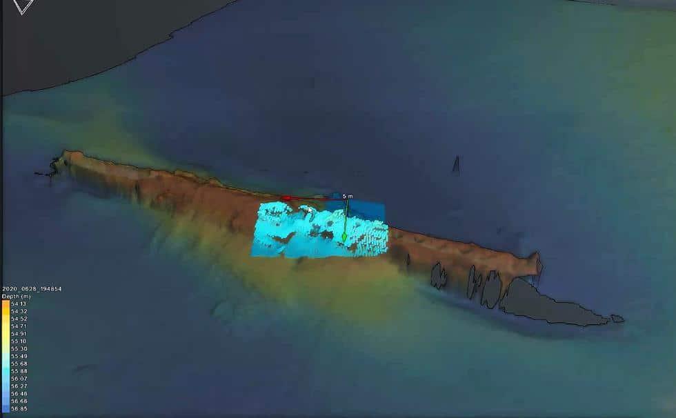 obraz 3D wraku okrętu podwodnego UC-47 divers24.pl