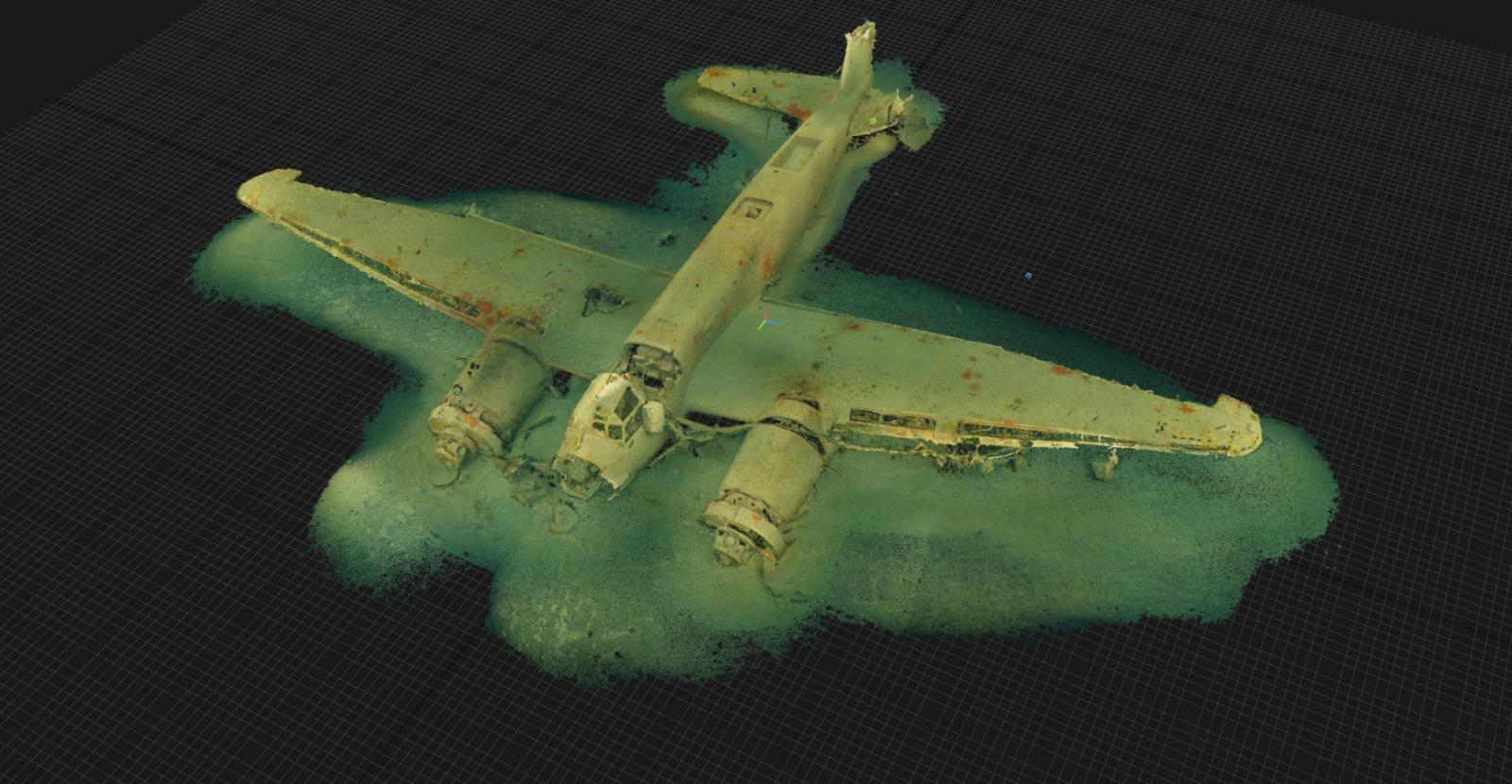 wrak samolotu Junkers JU88 model 3D divers24.pl