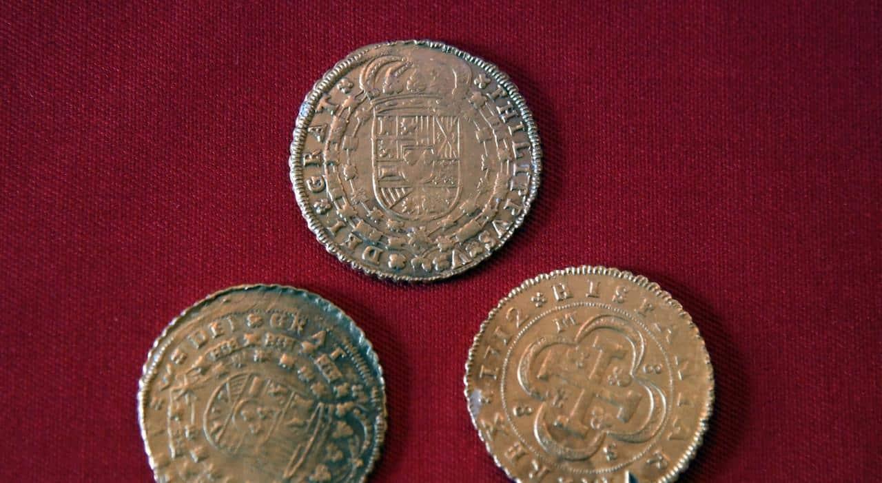 Złote monety wydobyte na Sardynii divers24.pl