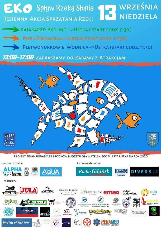 plakat nurkowy spływ Słupią 2020 divers24.pl