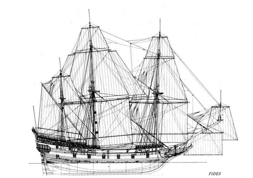 historyczna rycina okręt wojenny Delmenhorst divers24.pl