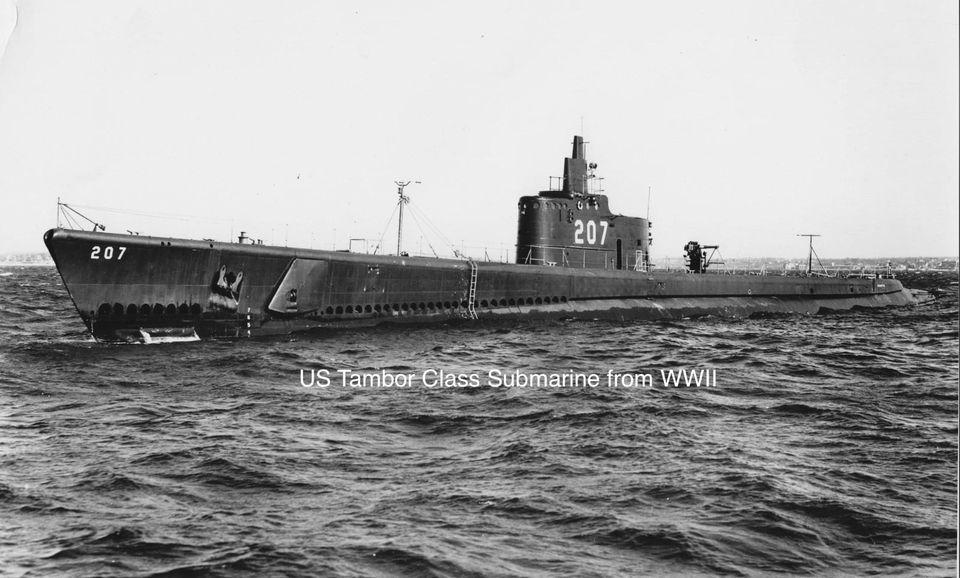Historyczne zdjęcie okrętu klasy Tambor