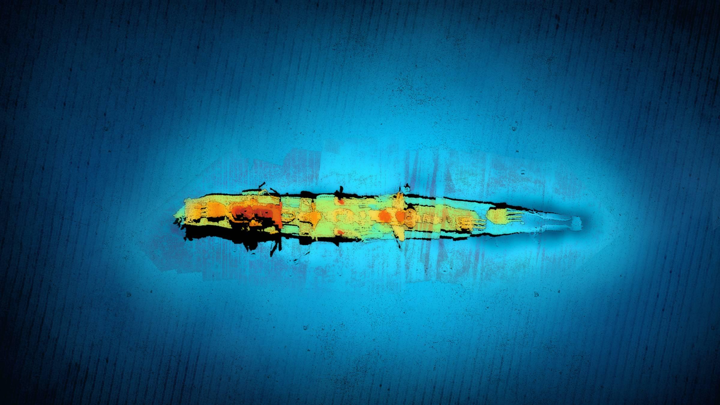 Obraz z sonaru wraku Karlsruhe divers24.pl