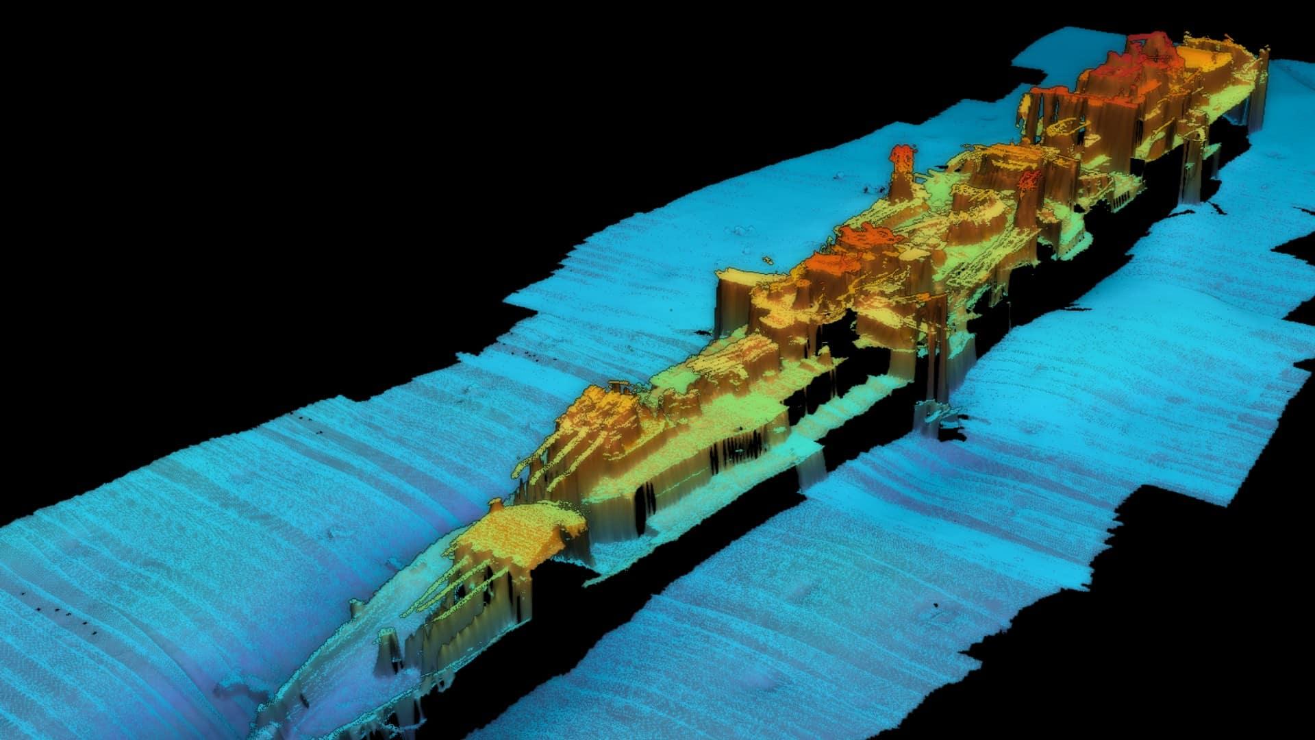 Szczegółowy obraz wykonany sonarem wraku Karlsruhe divers24.pl