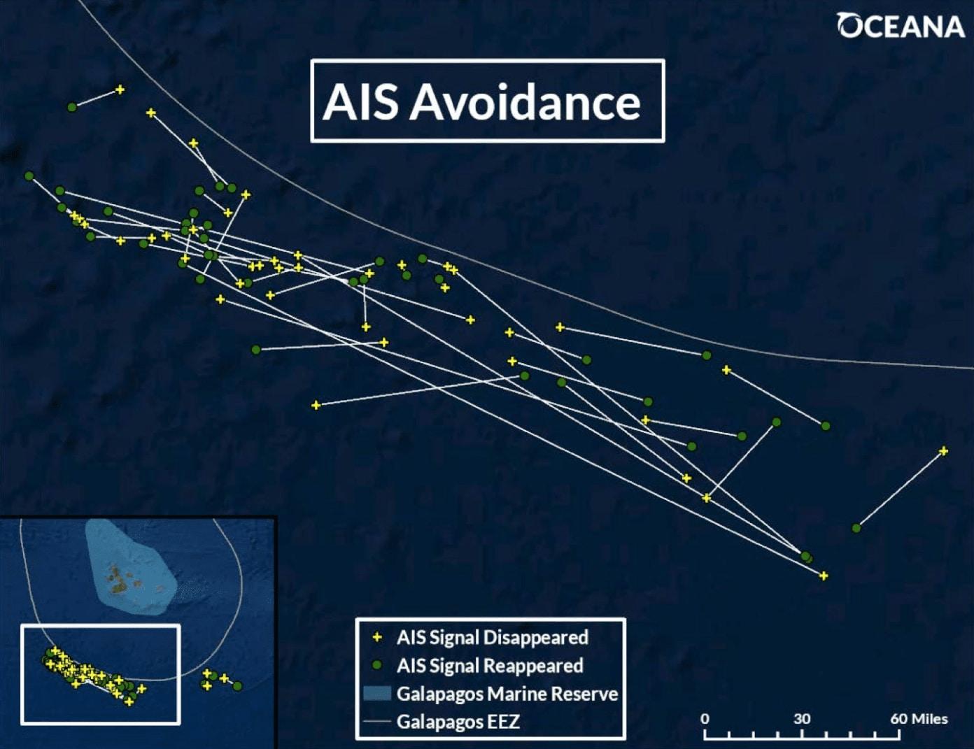 Grafika obrazująca sygnały AIS chińskiej floty rybackiej na wyspach galapagos