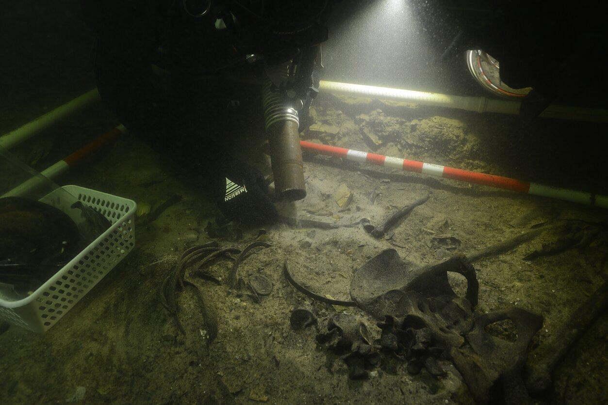 Badanie średniowiecznych szczątków z jeziora Oświe