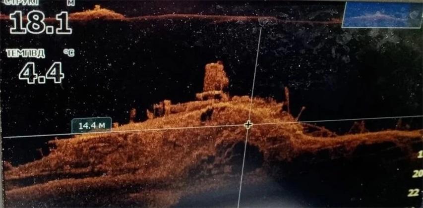 Skan sonaru widok wraku parowca Vera Finger