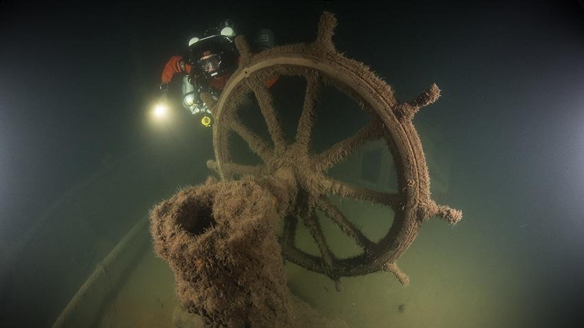 Koło sterowe parowiec SS Blenda