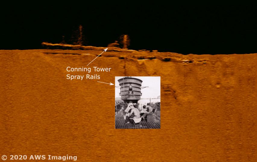 Zdjęcie sonarowe wraku okrętu R8