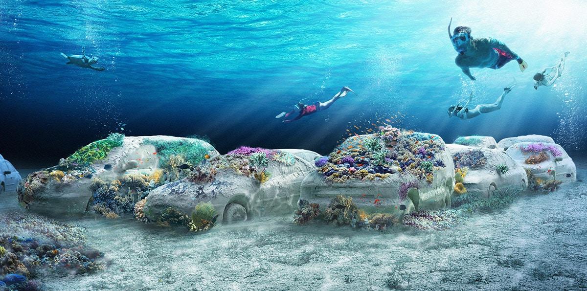 Rzeźby samochodów podwodny park Miami Beach