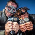 freediverzy po ustanowieniu rekordu świata w konkurencji No Limits Tandem