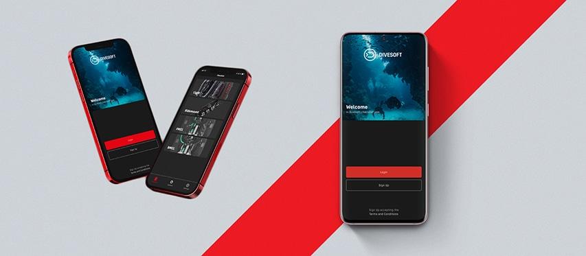 smartfony z aplikacją Divesoft