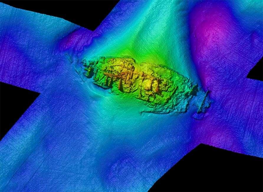 zdjęcie sonarowe wraku żaglowca