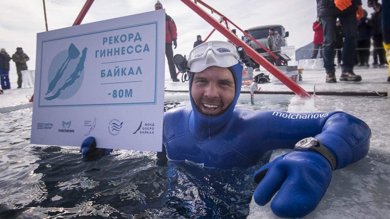 Mołczanow nory rekor freediving pod lodem