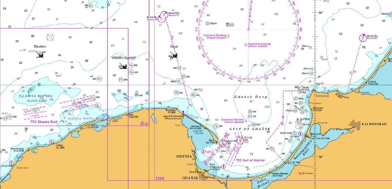 Mapa wybrzeża Morza Bałtyckiego