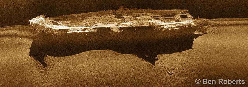 skan sonarowy odnalezionego wraku