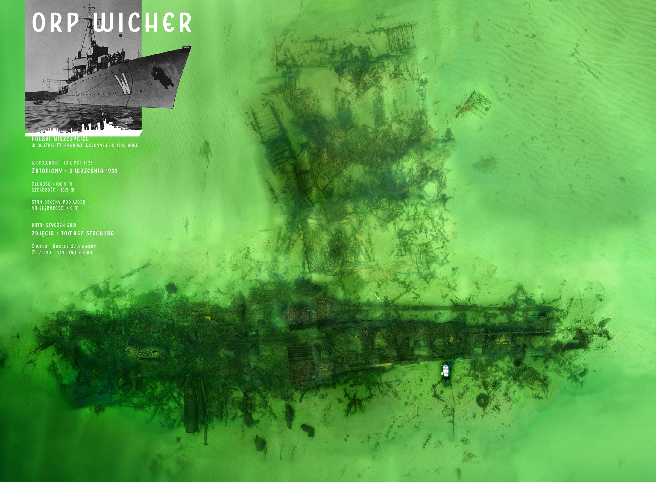 Duża mozaika wraku niszczyciela ORP Wicher
