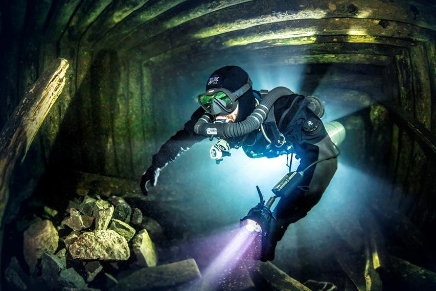 NUrek jaskiniowy w rebreatherze