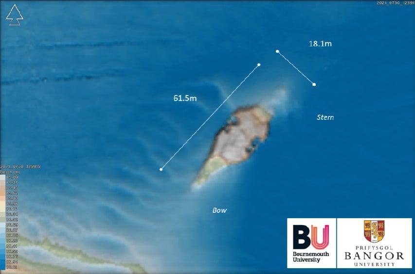Obraz sonarowy wraku z II wojny światowej