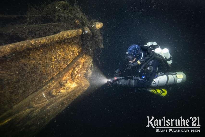 Nurek bada wrak nieznanego żaglowca ekspedycja Karlsruhe 2021